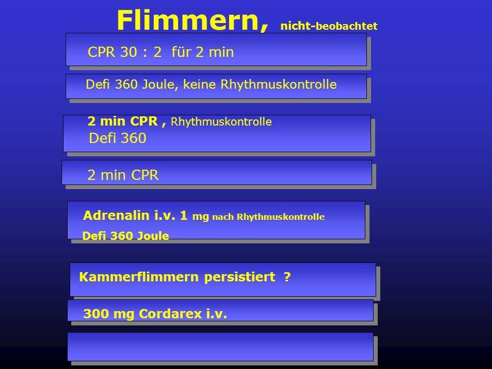 Flimmern, beobachtet Defi 360 Joule, keine Rhythmuskontrolle CPR 30 : 2 für 2 min Intubation, i.v. Zugang Defi 360 Joule nach Rhythmuskontrolle 2 min
