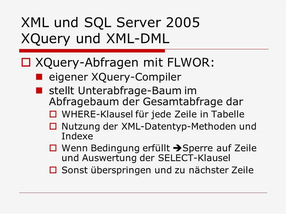 XML und SQL Server 2005 XQuery und XML-DML XQuery-Abfragen mit FLWOR: eigener XQuery-Compiler stellt Unterabfrage-Baum im Abfragebaum der Gesamtabfrage dar WHERE-Klausel für jede Zeile in Tabelle Nutzung der XML-Datentyp-Methoden und Indexe Wenn Bedingung erfüllt Sperre auf Zeile und Auswertung der SELECT-Klausel Sonst überspringen und zu nächster Zeile