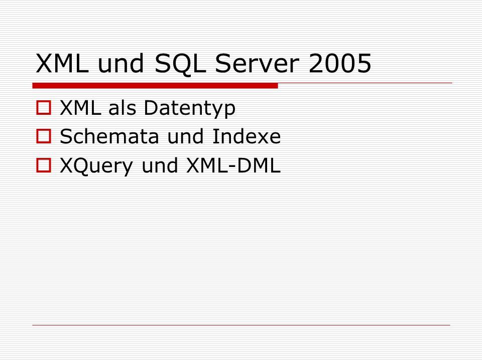 XML und SQL Server 2008 XQuery- und XML-DML-Neuerungen XML-DML-Neuerung: Einfügen von Subbäumen über SQL- Variablen möglich (zuvor nur für Auswertung möglich) Bsp.: Declare @newBike xml Set @newBike = Racing Bike Set @productList.modify( insert sql:variable(@newBike) as last into (/Products)[1])