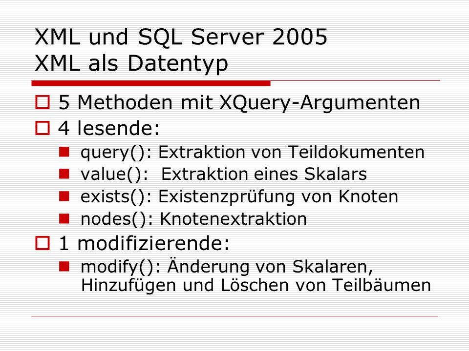XML und SQL Server 2005 XML als Datentyp Bsp.