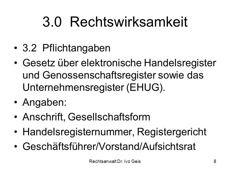 Rechtsanwalt Dr. Ivo Geis19 7.0 Private Nutzung 7.1 Erlaubnis und Verbot 7.2 Betriebsvereinbarung