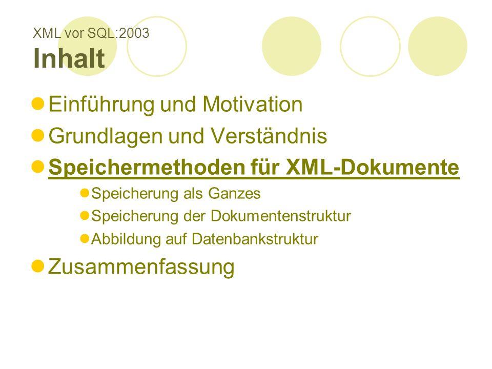 XML vor SQL:2003 Inhalt Einführung und Motivation Grundlagen und Verständnis Speichermethoden für XML-Dokumente Speicherung als Ganzes Speicherung der