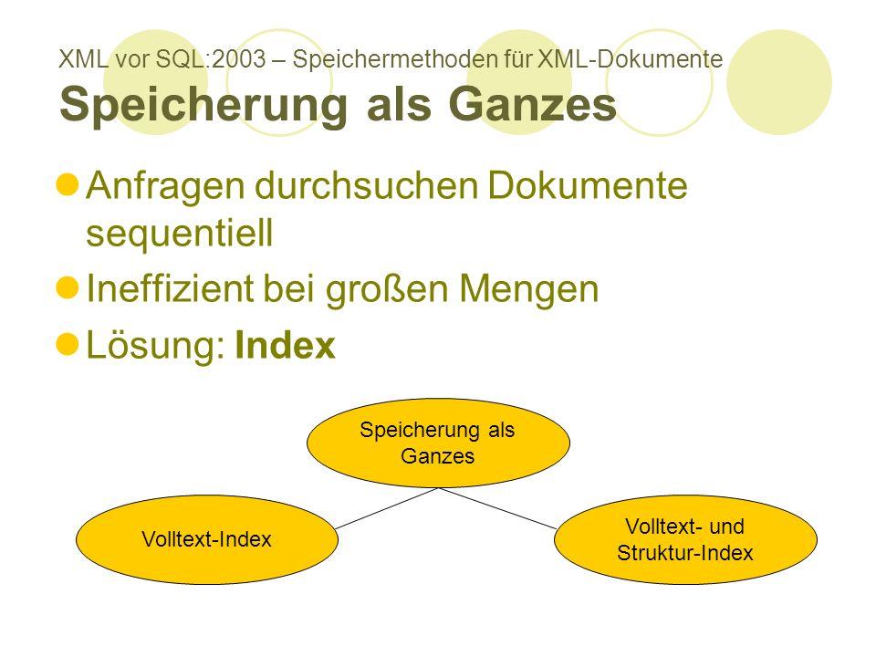 XML vor SQL:2003 – Speichermethoden für XML-Dokumente Speicherung als Ganzes Anfragen durchsuchen Dokumente sequentiell Ineffizient bei großen Mengen Lösung: Index Speicherung als Ganzes Volltext-Index Volltext- und Struktur-Index