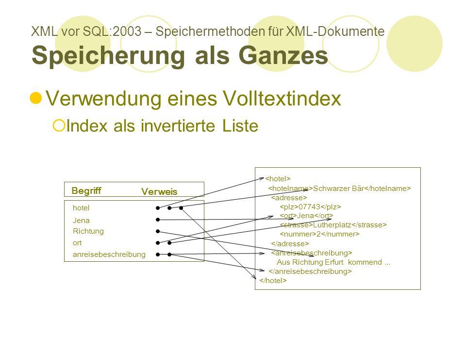 XML vor SQL:2003 – Speichermethoden für XML-Dokumente Speicherung als Ganzes Verwendung eines Volltextindex Index als invertierte Liste Verweis Jena 07743 Jena 2 Schwarzer Bär Aus Richtung Erfurt kommend...