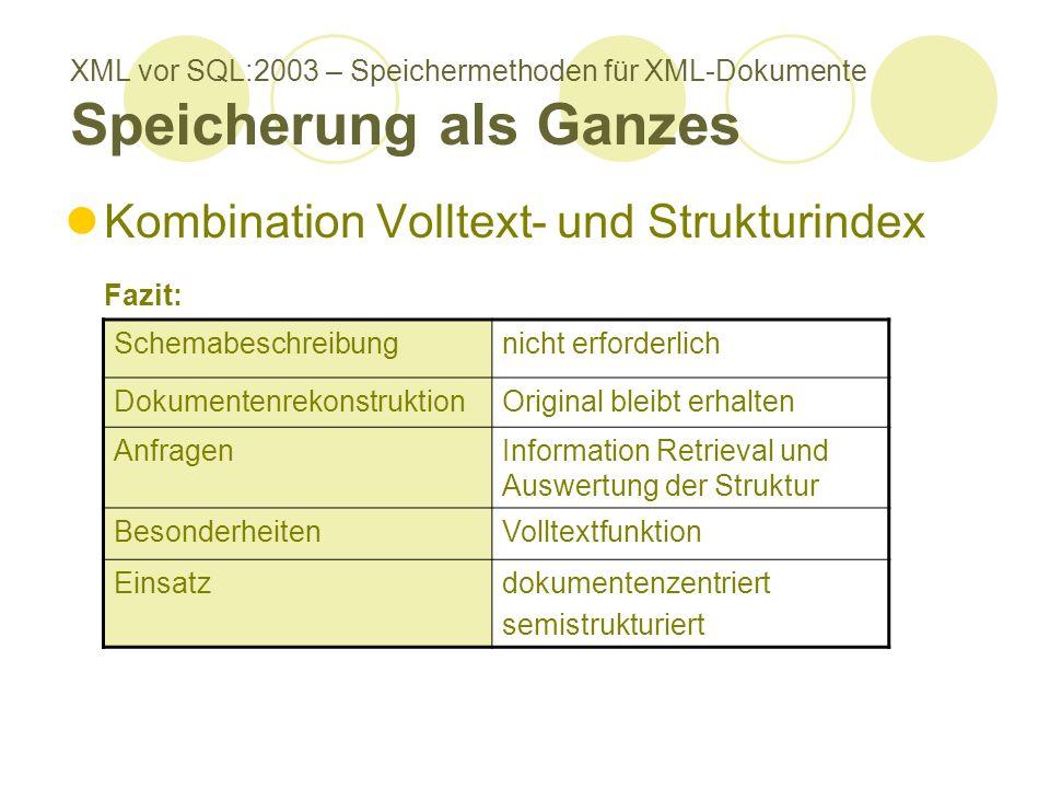 XML vor SQL:2003 – Speichermethoden für XML-Dokumente Speicherung als Ganzes Kombination Volltext- und Strukturindex Fazit: Schemabeschreibungnicht er