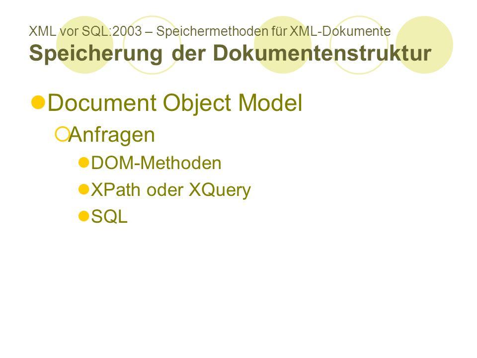 XML vor SQL:2003 – Speichermethoden für XML-Dokumente Speicherung der Dokumentenstruktur Document Object Model Anfragen DOM-Methoden XPath oder XQuery SQL