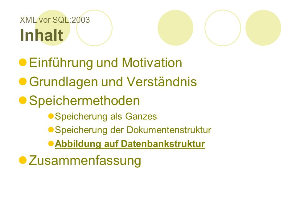 XML vor SQL:2003 Inhalt Einführung und Motivation Grundlagen und Verständnis Speichermethoden Speicherung als Ganzes Speicherung der Dokumentenstruktur Abbildung auf Datenbankstruktur Zusammenfassung
