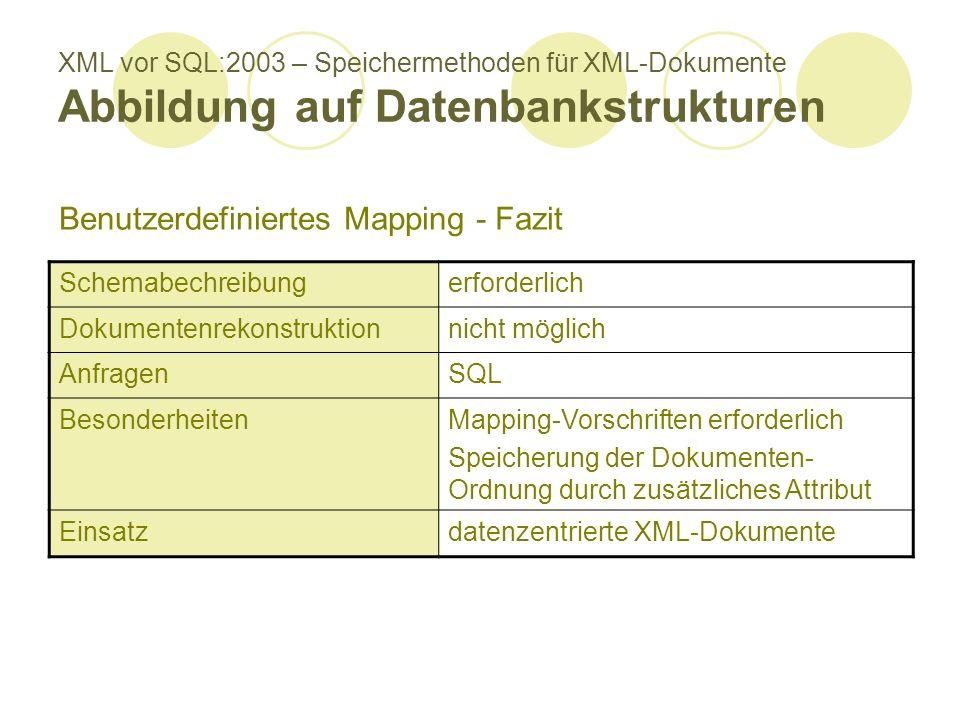XML vor SQL:2003 – Speichermethoden für XML-Dokumente Abbildung auf Datenbankstrukturen Schemabechreibungerforderlich Dokumentenrekonstruktionnicht möglich AnfragenSQL BesonderheitenMapping-Vorschriften erforderlich Speicherung der Dokumenten- Ordnung durch zusätzliches Attribut Einsatzdatenzentrierte XML-Dokumente Benutzerdefiniertes Mapping - Fazit