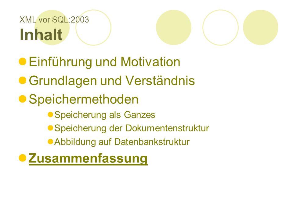 XML vor SQL:2003 Inhalt Einführung und Motivation Grundlagen und Verständnis Speichermethoden Speicherung als Ganzes Speicherung der Dokumentenstruktu