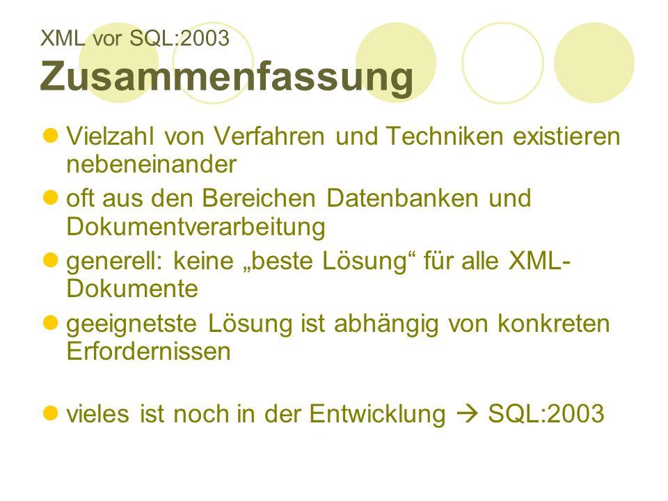 XML vor SQL:2003 Zusammenfassung Vielzahl von Verfahren und Techniken existieren nebeneinander oft aus den Bereichen Datenbanken und Dokumentverarbeitung generell: keine beste Lösung für alle XML- Dokumente geeignetste Lösung ist abhängig von konkreten Erfordernissen vieles ist noch in der Entwicklung SQL:2003
