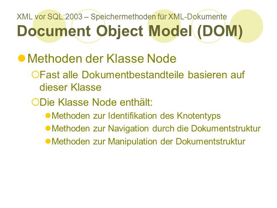 XML vor SQL:2003 – Speichermethoden für XML-Dokumente Document Object Model (DOM) Methoden der Klasse Node Fast alle Dokumentbestandteile basieren auf dieser Klasse Die Klasse Node enthält: Methoden zur Identifikation des Knotentyps Methoden zur Navigation durch die Dokumentstruktur Methoden zur Manipulation der Dokumentstruktur