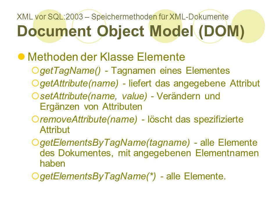 XML vor SQL:2003 – Speichermethoden für XML-Dokumente Document Object Model (DOM) Methoden der Klasse Elemente getTagName() - Tagnamen eines Elementes getAttribute(name) - liefert das angegebene Attribut setAttribute(name, value) - Verändern und Ergänzen von Attributen removeAttribute(name) - löscht das spezifizierte Attribut getElementsByTagName(tagname) - alle Elemente des Dokumentes, mit angegebenen Elementnamen haben getElementsByTagName(*) - alle Elemente.