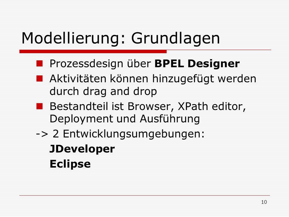 10 Modellierung: Grundlagen Prozessdesign über BPEL Designer Aktivitäten können hinzugefügt werden durch drag and drop Bestandteil ist Browser, XPath editor, Deployment und Ausführung -> 2 Entwicklungsumgebungen: JDeveloper Eclipse