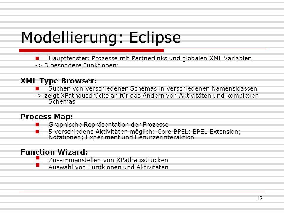 12 Modellierung: Eclipse Hauptfenster: Prozesse mit Partnerlinks und globalen XML Variablen -> 3 besondere Funktionen: XML Type Browser: Suchen von verschiedenen Schemas in verschiedenen Namensklassen -> zeigt XPathausdrücke an für das Ändern von Aktivitäten und komplexen Schemas Process Map: Graphische Repräsentation der Prozesse 5 verschiedene Aktivitäten möglich: Core BPEL; BPEL Extension; Notationen; Experiment und Benutzerinteraktion Function Wizard: Zusammenstellen von XPathausdrücken Auswahl von Funtkionen und Aktivitäten