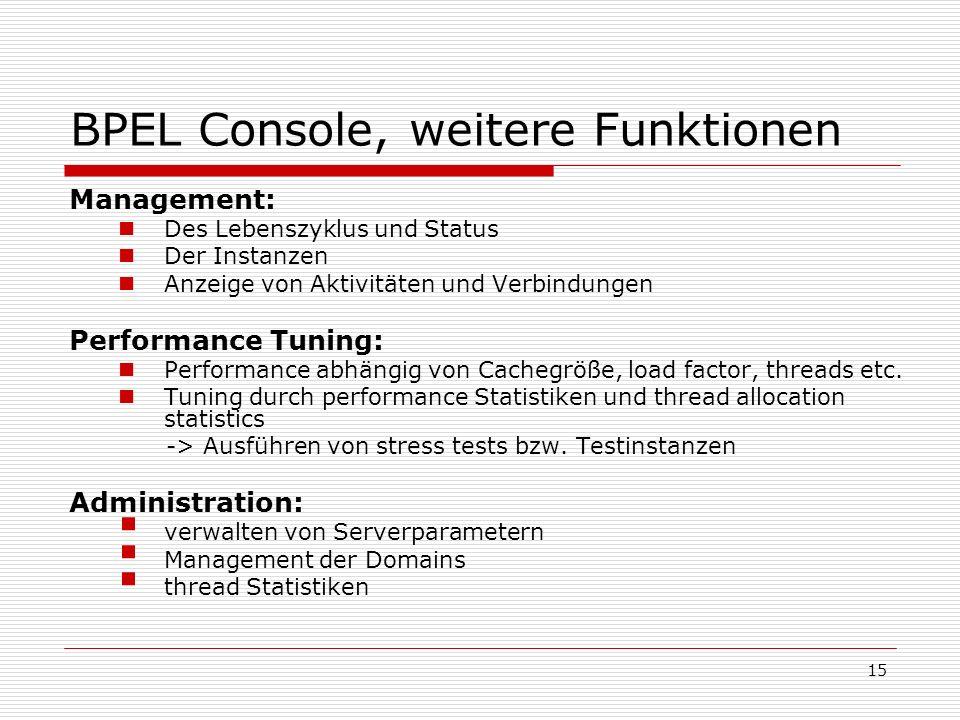 15 BPEL Console, weitere Funktionen Management: Des Lebenszyklus und Status Der Instanzen Anzeige von Aktivitäten und Verbindungen Performance Tuning: Performance abhängig von Cachegröße, load factor, threads etc.