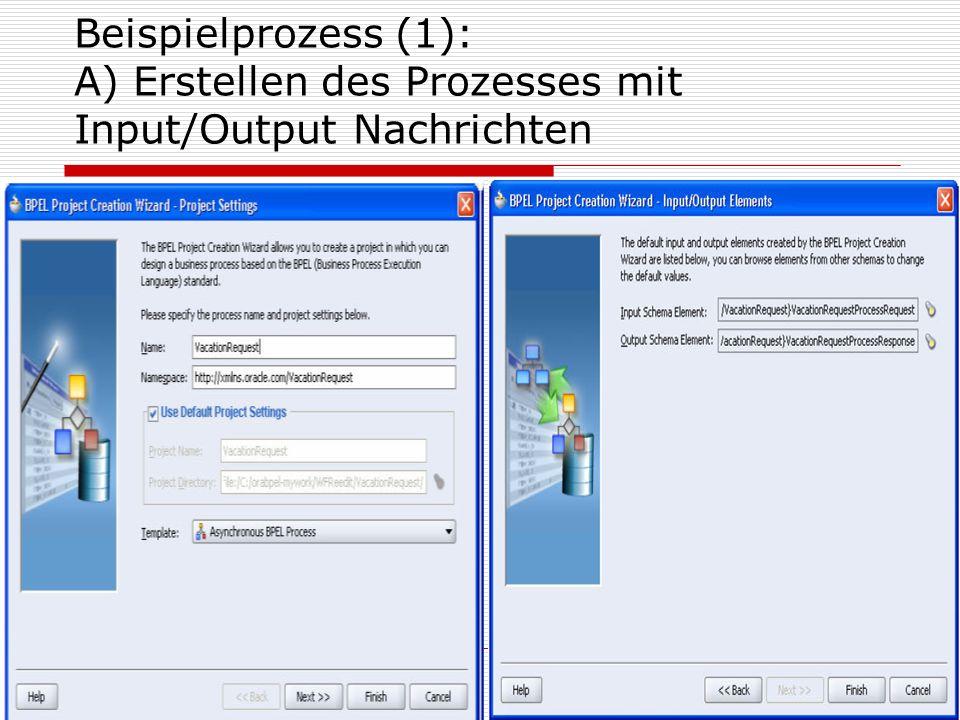 17 Beispielprozess (1): A) Erstellen des Prozesses mit Input/Output Nachrichten