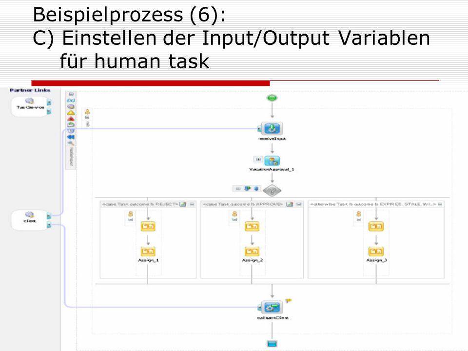 22 Beispielprozess (6): C) Einstellen der Input/Output Variablen für human task