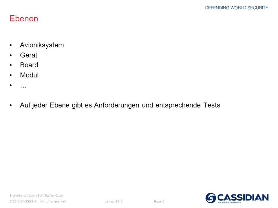 © 2013 CASSIDIAN - All rights reserved Page 8 Sicherheitskritische SW / Stefan Kauer Januar 2013 Ebenen Avioniksystem Gerät Board Modul … Auf jeder Eb