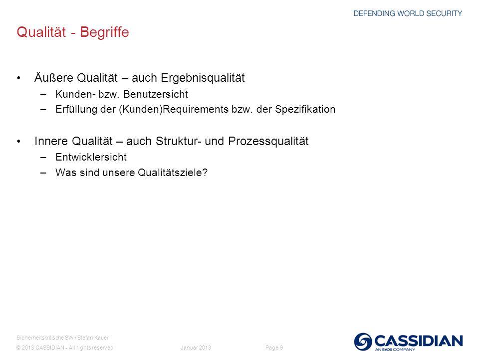 © 2013 CASSIDIAN - All rights reserved Page 9 Sicherheitskritische SW / Stefan Kauer Januar 2013 Qualität - Begriffe Äußere Qualität – auch Ergebnisqu
