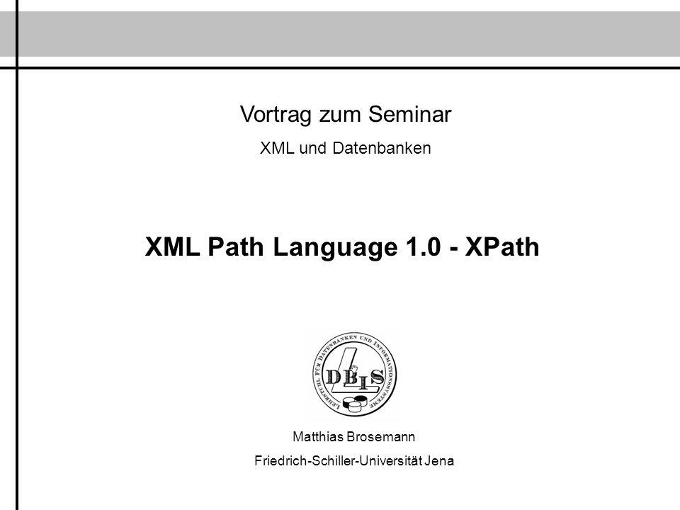 Inhalt 1.Einleitung 2.Datenmodell 3.XPath-Ausdrücke - Datentypen - Kontextbezogene Auswertung - Lokalisierungspfade - Ausdrücke 4.Grundfunktionsbibliothek 5.Zusammenfassung & Ausblick