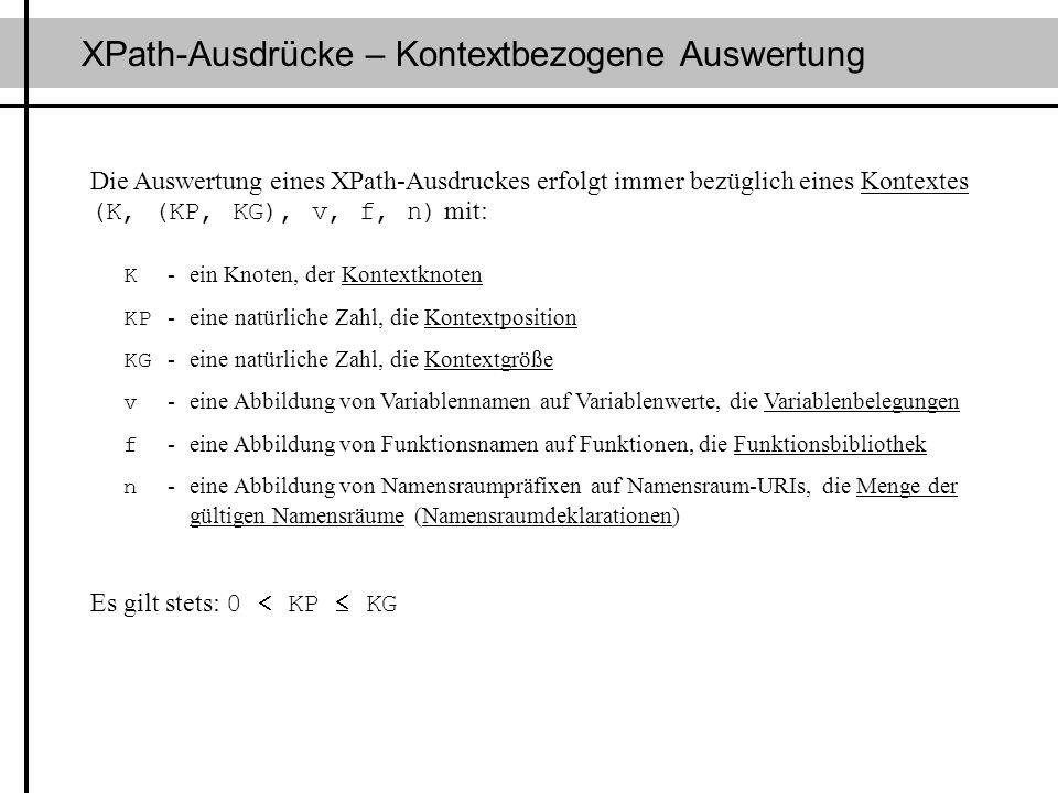 XPath-Ausdrücke – Kontextbezogene Auswertung Die Auswertung eines XPath-Ausdruckes erfolgt immer bezüglich eines Kontextes (K, (KP, KG), v, f, n) mit: