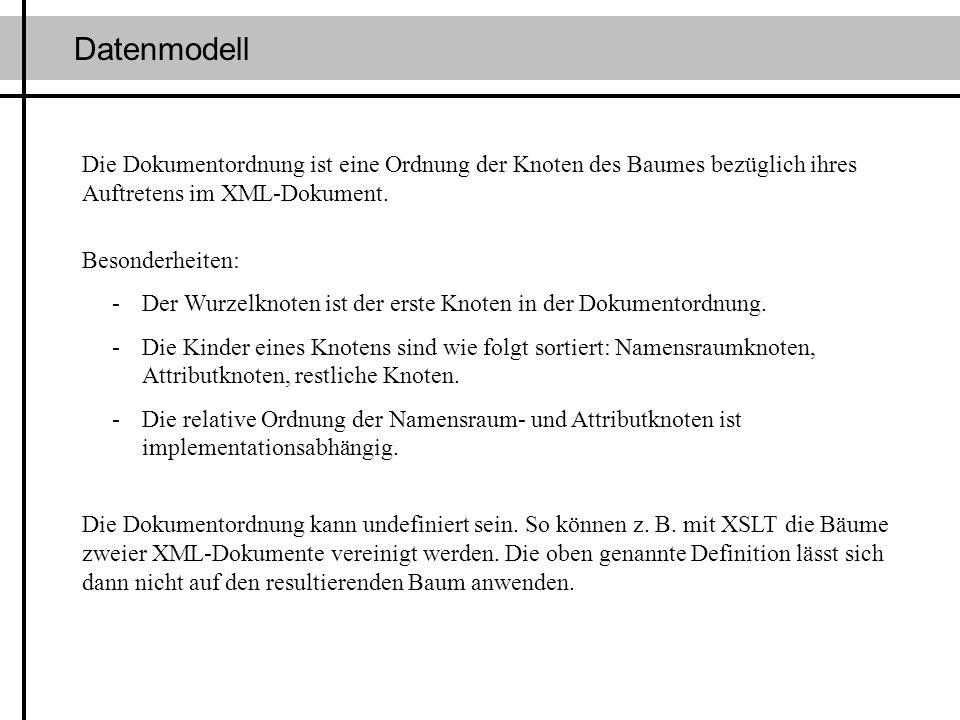 Datenmodell Die Dokumentordnung ist eine Ordnung der Knoten des Baumes bezüglich ihres Auftretens im XML-Dokument. Besonderheiten: -Der Wurzelknoten i