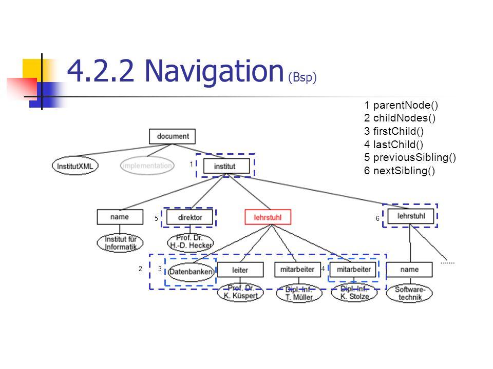 4.2.2 Navigation (Bsp) 6 1 234 5 1 parentNode() 2 childNodes() 3 firstChild() 4 lastChild() 5 previousSibling() 6 nextSibling()