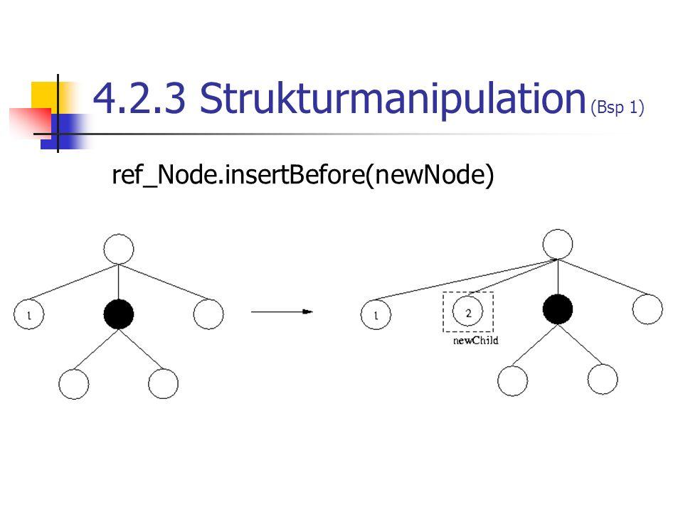 4.2.3 Strukturmanipulation (Bsp 1) ref_Node.insertBefore(newNode)