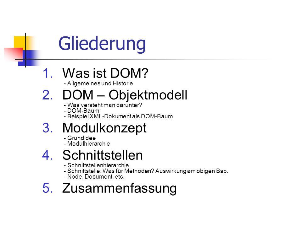 Gliederung 1.Was ist DOM? - Allgemeines und Historie 2.DOM – Objektmodell - Was versteht man darunter? - DOM-Baum - Beispiel XML-Dokument als DOM-Baum