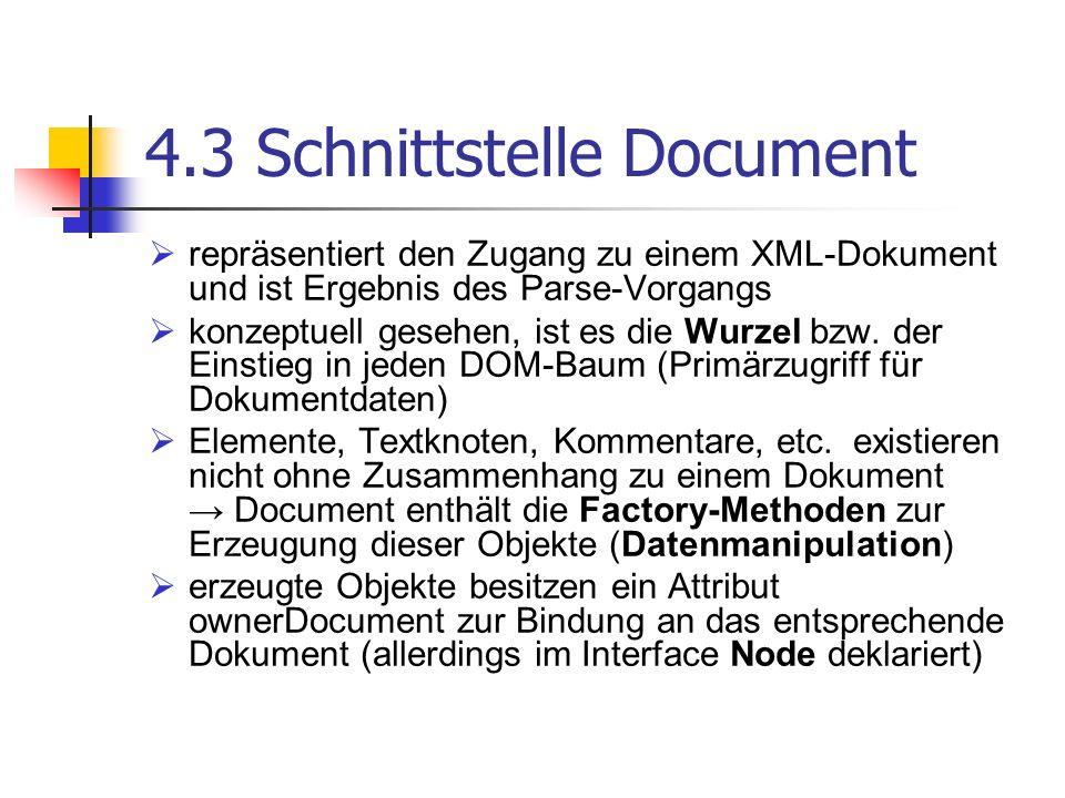 4.3 Schnittstelle Document repräsentiert den Zugang zu einem XML-Dokument und ist Ergebnis des Parse-Vorgangs konzeptuell gesehen, ist es die Wurzel b
