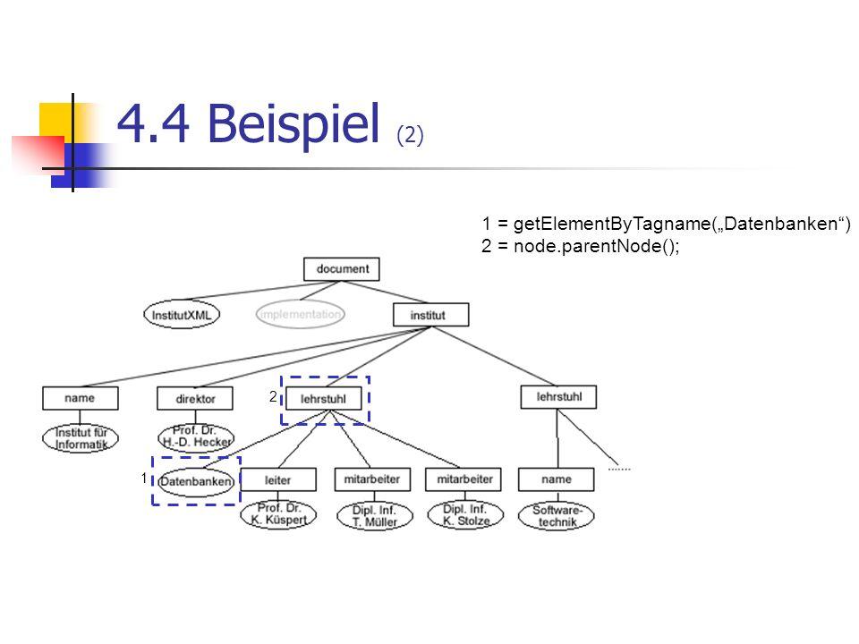 4.4 Beispiel (2) 1 = getElementByTagname(Datenbanken) 2 = node.parentNode(); 1 2