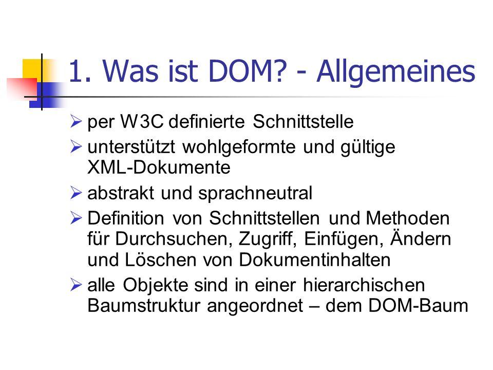 1. Was ist DOM? - Allgemeines per W3C definierte Schnittstelle unterstützt wohlgeformte und gültige XML-Dokumente abstrakt und sprachneutral Definitio