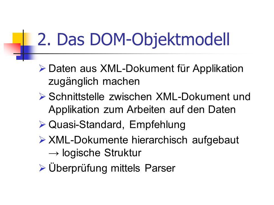 2. Das DOM-Objektmodell Daten aus XML-Dokument für Applikation zugänglich machen Schnittstelle zwischen XML-Dokument und Applikation zum Arbeiten auf