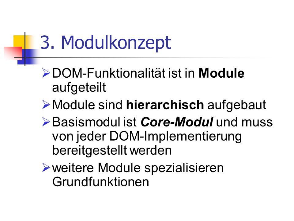 3. Modulkonzept DOM-Funktionalität ist in Module aufgeteilt Module sind hierarchisch aufgebaut Basismodul ist Core-Modul und muss von jeder DOM-Implem