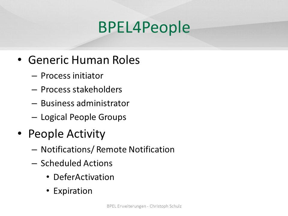 BPEL4People BPEL4People: Generic Human Roles
