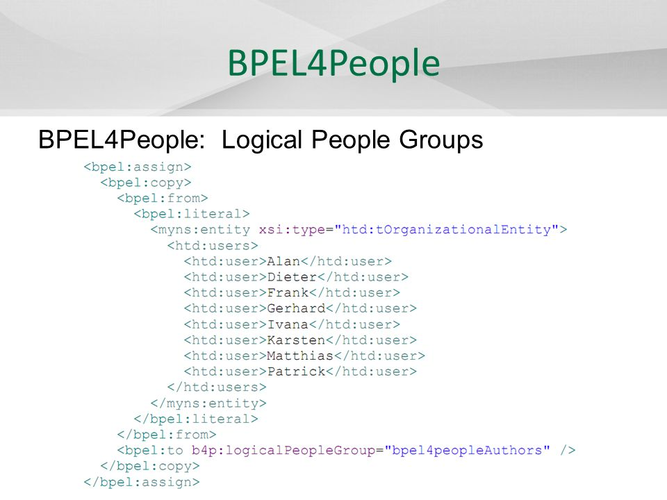 II4BPEL Erweiterung der BPEL mit dem Ziel: – Schnelle Einbindung von Inline-SQL-Befehlen in BPEL – Modellierung von Prozessen mit direkten relationalen DB-Zugriff – Einfaches Nachvollziehen der Prozesse in Prozessdiagramm BPEL Erweiterungen - Christoph Schulz
