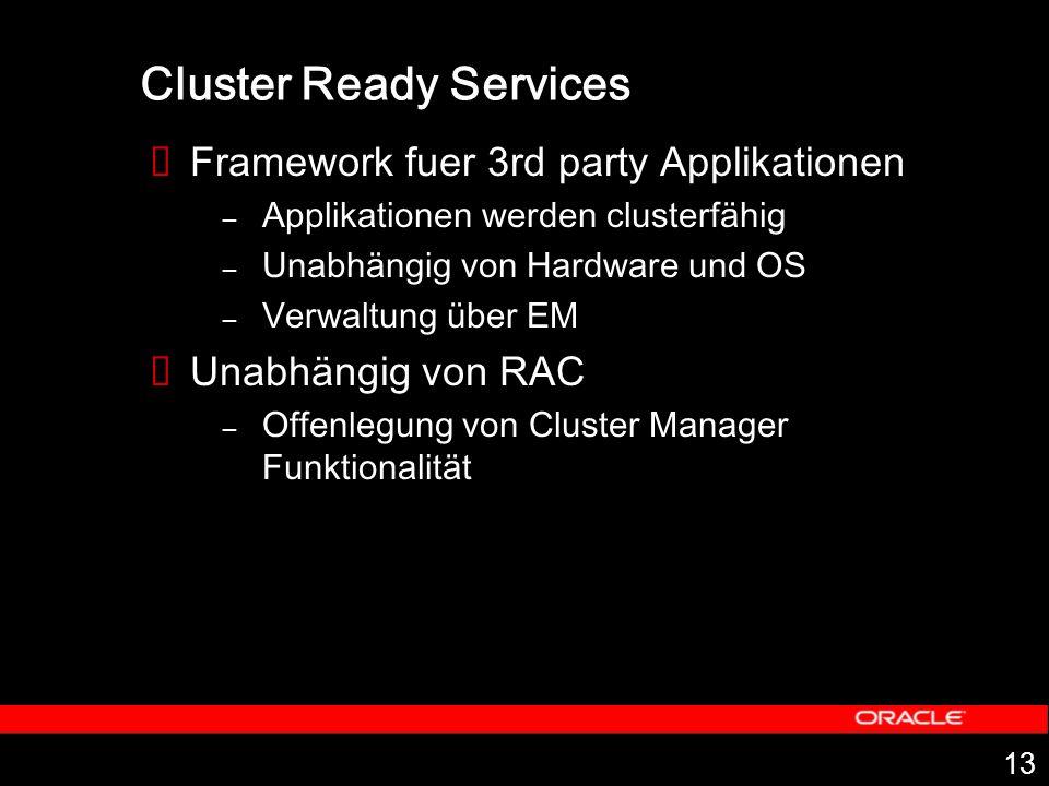 13 Cluster Ready Services Framework fuer 3rd party Applikationen – Applikationen werden clusterfähig – Unabhängig von Hardware und OS – Verwaltung über EM Unabhängig von RAC – Offenlegung von Cluster Manager Funktionalität