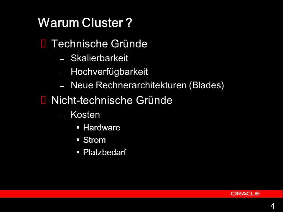 4 Warum Cluster ? Technische Gründe – Skalierbarkeit – Hochverfügbarkeit – Neue Rechnerarchitekturen (Blades) Nicht-technische Gründe – Kosten Hardwar