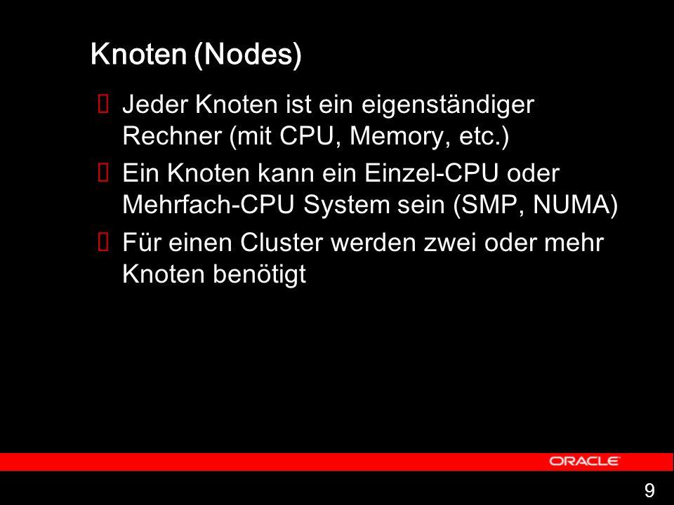 9 Knoten (Nodes) Jeder Knoten ist ein eigenständiger Rechner (mit CPU, Memory, etc.) Ein Knoten kann ein Einzel-CPU oder Mehrfach-CPU System sein (SMP, NUMA) Für einen Cluster werden zwei oder mehr Knoten benötigt