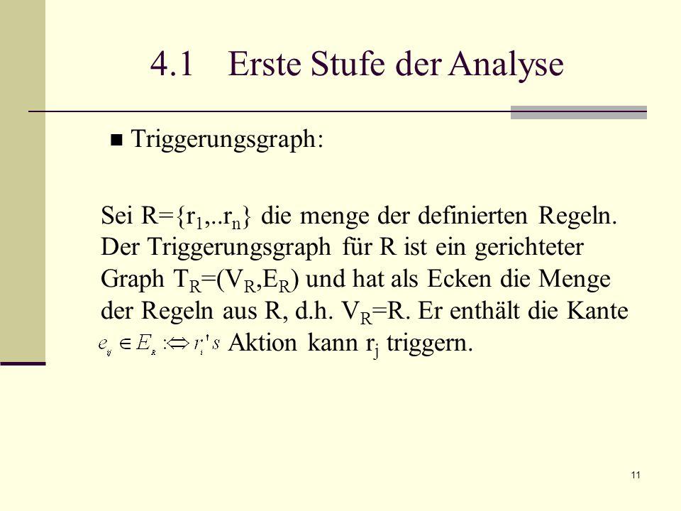 11 4.1 Erste Stufe der Analyse Triggerungsgraph: Sei R={r 1,..r n } die menge der definierten Regeln. Der Triggerungsgraph für R ist ein gerichteter G