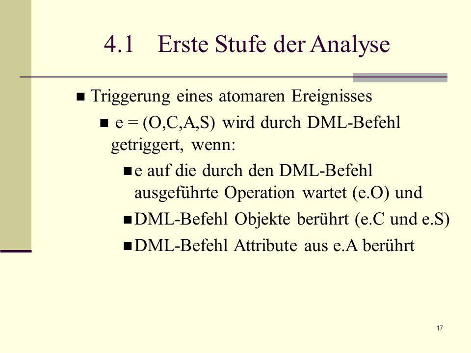 17 4.1 Erste Stufe der Analyse Triggerung eines atomaren Ereignisses e = (O,C,A,S) wird durch DML-Befehl getriggert, wenn: e auf die durch den DML-Befehl ausgeführte Operation wartet (e.O) und DML-Befehl Objekte berührt (e.C und e.S) DML-Befehl Attribute aus e.A berührt