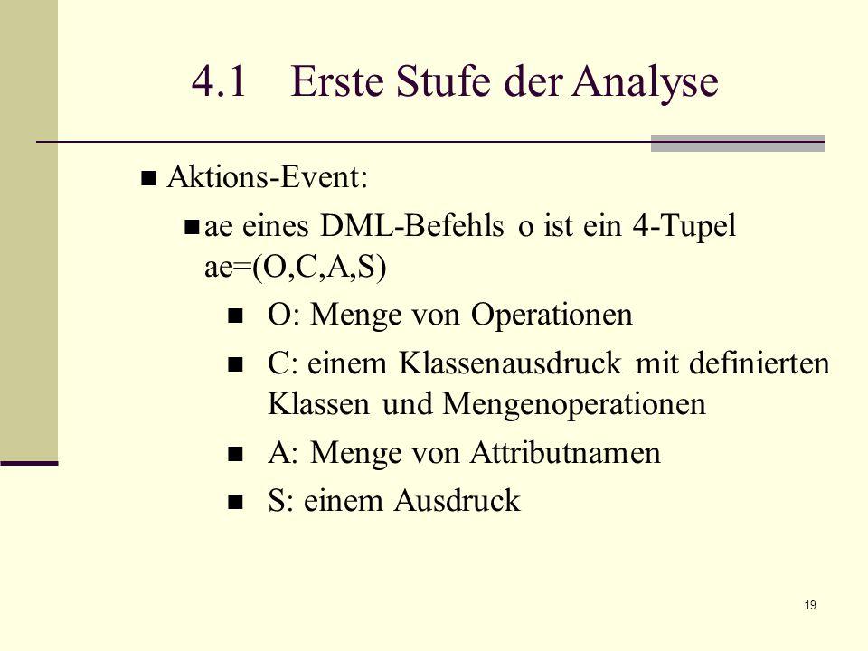 19 4.1 Erste Stufe der Analyse Aktions-Event: ae eines DML-Befehls o ist ein 4-Tupel ae=(O,C,A,S) O: Menge von Operationen C: einem Klassenausdruck mit definierten Klassen und Mengenoperationen A: Menge von Attributnamen S: einem Ausdruck