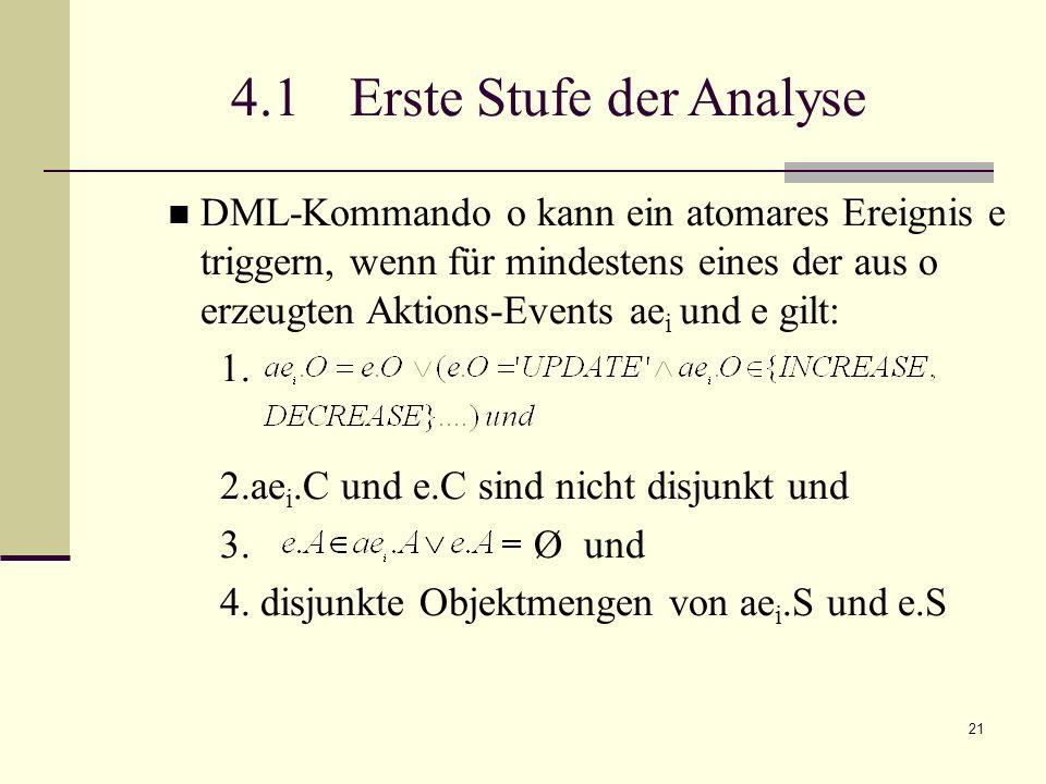 21 4.1 Erste Stufe der Analyse DML-Kommando o kann ein atomares Ereignis e triggern, wenn für mindestens eines der aus o erzeugten Aktions-Events ae i und e gilt: 1.