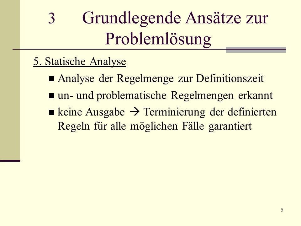 9 3 Grundlegende Ansätze zur Problemlösung 5. Statische Analyse Analyse der Regelmenge zur Definitionszeit un- und problematische Regelmengen erkannt