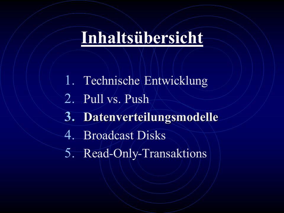 Inhaltsübersicht 1. Technische Entwicklung 2. Pull vs. Push 3. Datenverteilungsmodelle 4. Broadcast Disks 5. Read-Only-Transaktions