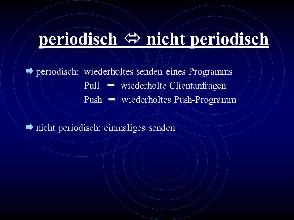 periodisch nicht periodisch periodisch: wiederholtes senden eines Programms Pull wiederholte Clientanfragen Push wiederholtes Push-Programm nicht peri
