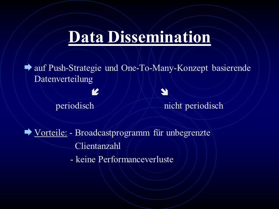 Data Dissemination auf Push-Strategie und One-To-Many-Konzept basierende Datenverteilung periodisch nicht periodisch Vorteile: - Broadcastprogramm für