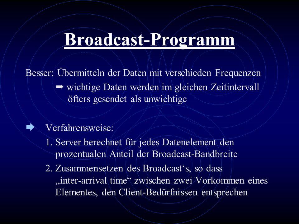 Broadcast-Programm Besser: Übermitteln der Daten mit verschieden Frequenzen wichtige Daten werden im gleichen Zeitintervall öfters gesendet als unwich