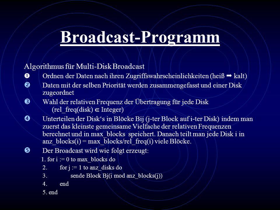 Broadcast-Programm Algorithmus für Multi-Disk Broadcast Ordnen der Daten nach ihren Zugriffswahrscheinlichkeiten (heiß kalt)  Daten mit der selben Pr