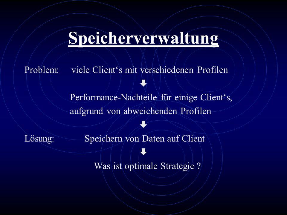 Speicherverwaltung Problem: viele Clients mit verschiedenen Profilen Performance-Nachteile für einige Clients, aufgrund von abweichenden Profilen Lösu